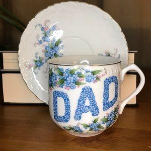 """Vintage Lefton """"Dad"""" tea cup & saucer blue floral"""